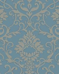 Dancing Damask Wallpaper Blue by