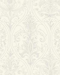 Detail Damask Wallpaper White by