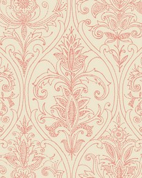 Detail Damask Wallpaper Red by