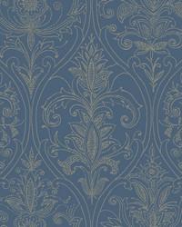 Detail Damask Wallpaper Blue by