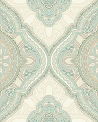 Paisley Medallion Wallpaper Blue by