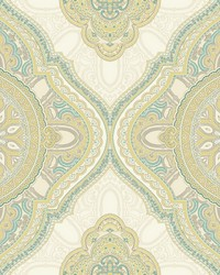 Paisley Medallion Wallpaper Green by