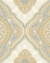 Paisley Medallion Wallpaper Yellow by