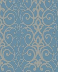 Filigree Trellis Wallpaper Blue by