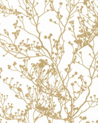 Budding Branch Silhouette Wallpaper White Gold by