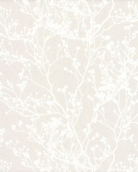 Budding Branch Silhouette Wallpaper Beige by