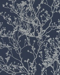 Budding Branch Silhouette Wallpaper Navy by