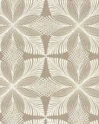Roulettes Wallpaper Tan White by