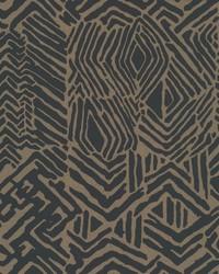 Tribal Print Wallpaper Black Brown by