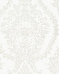 Heritage Damask Wallpaper White Beige by