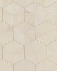 Hexagram Wood Veneer Wallpaper Off White by