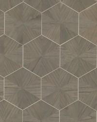 Hexagram Wood Veneer Wallpaper Brown by
