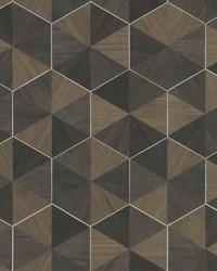 Hexagram Wood Veneer Wallpaper Brown Black by
