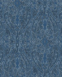 Ascot Damask Wallpaper Blue by