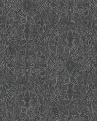 Ascot Damask Wallpaper Black by
