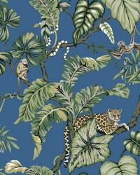Jungle Cat Wallpaper Blue by