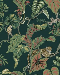 Jungle Cat Wallpaper Dark Green by