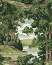 Forest Lake Scenic Wallpaper Green  Brown by