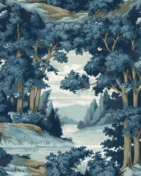 Forest Lake Scenic Wallpaper Blue by