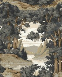 Forest Lake Scenic Wallpaper Tan  Grey by