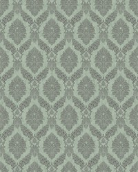 Peacock Damask Wallpaper Blue by