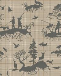 Outdoorsmen Toile Wallpaper Tan by