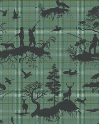 Outdoorsmen Toile Wallpaper Green by
