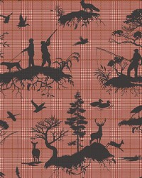 Outdoorsmen Toile Wallpaper Red by