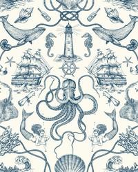 Deep Sea Toile Wallpaper Blue by