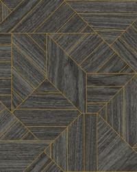 Wood Geometric Wallpaper Black by