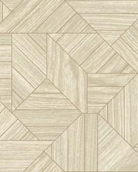 Wood Geometric Wallpaper Beige by