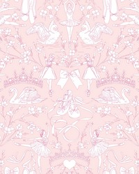 Ballet Toile Wallpaper Bright Pink by
