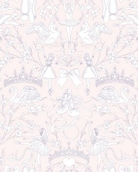 Ballet Toile Wallpaper Pearl Pink by