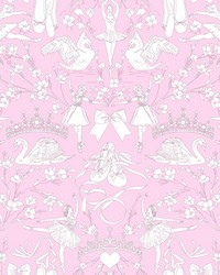 Ballet Toile Wallpaper Orchid by