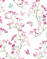 Watercolor Branch Wallpaper Magenta Green by