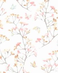Watercolor Branch Wallpaper Peach Aqua by