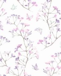 Watercolor Branch Wallpaper Purple by