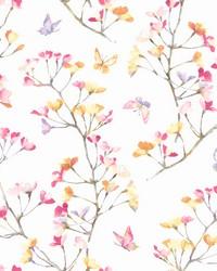 Watercolor Branch Wallpaper Pink Orange Purple by