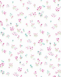 Watercolor Floral Bouquet Wallpaper Magenta Green by