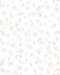 Watercolor Floral Bouquet Wallpaper Peach Aqua by