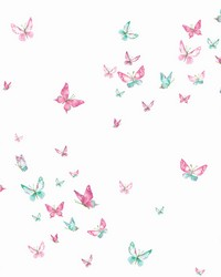 Watercolor Butterflies Wallpaper Magenta Green by