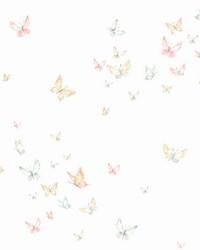 Watercolor Butterflies Wallpaper Peach Aqua by