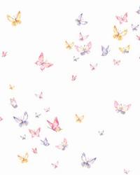 Watercolor Butterflies Wallpaper Pink Orange Purple by