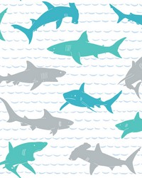 Shark Charades Wallpaper Teal Silver by