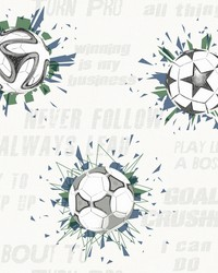 Soccer Ball Blast Wallpaper Navy Kelly by