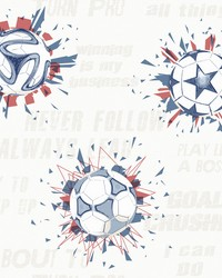 Soccer Ball Blast Wallpaper Blue Red by
