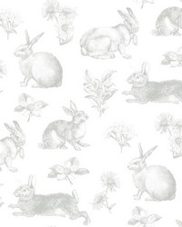Bunny Toile Wallpaper Grey by