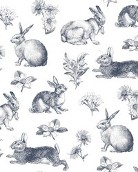 Bunny Toile Wallpaper Navy by