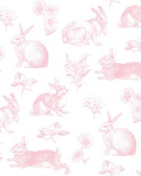 Bunny Toile Wallpaper Pink by