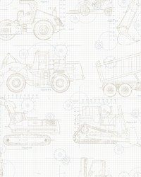Construction Blueprint Wallpaper Neutral On White by